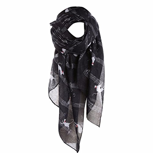 (Gotd Women Ladies Musical Note Cat Print Pattern Long Scarf Warm Wrap Shawl (Black))