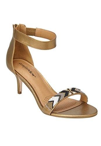Bronze Multi Leather Footwear - Comfortview Women's Wide The Stevie Sandal Bronze Multi,12 W