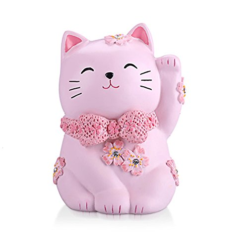 ElecNova Cute Pink Maneki-Neko Lucky Cat Piggy Bank Home Decor Ornament Gift for Girls ()