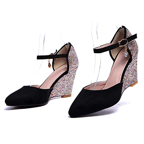 Shallow High Women'S 38 Pink Yukun Shoes Shoes Pointed Elegant Mouth Suede With Black Openwork Pearl Heel Tzu Shih heels High 11qpY8