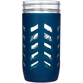 JarJackets Silicone Mason Jar Protector Sleeve - Fits Ball, Kerr 24oz (1.5 pint) Wide-Mouth Jars | Package of 1 (Midnight)