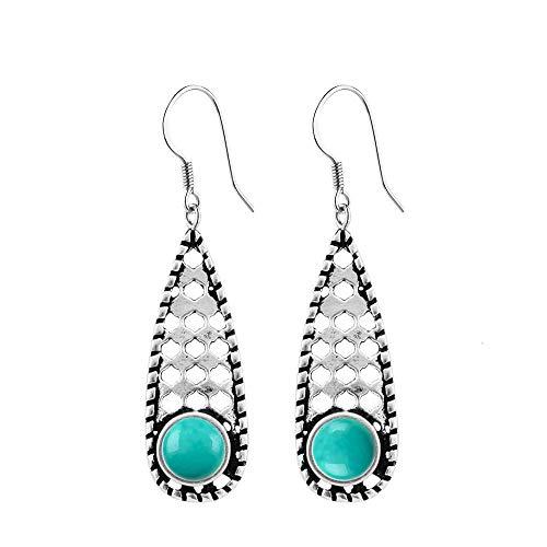 - Turquoise Earrings Dangle Sterling Silver Vintage Filigree Hook Earrings for Women and Girls