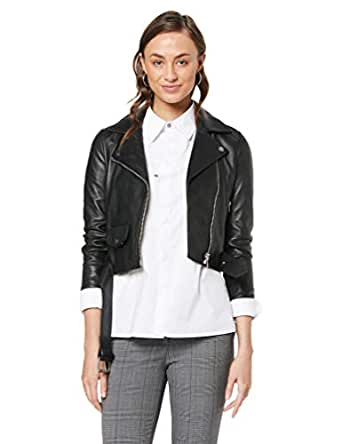 RAW by RAW Women's Billy Biker Jacket, Jet Black, 0