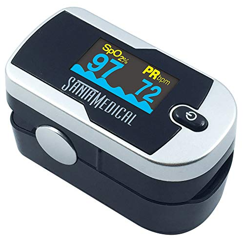 Santamedical Generation 2 Fingertip Pulse Oximeter Oximetry Blood Oxygen Saturation Monitor with batteries and lanyard (Bright Silver)
