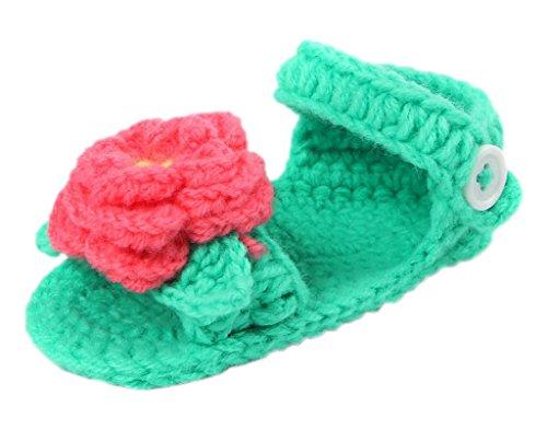 Bigood Strickschuh One Size Strick Schuh Baby Unisex süße Muster 11cm Rose Deko Grün