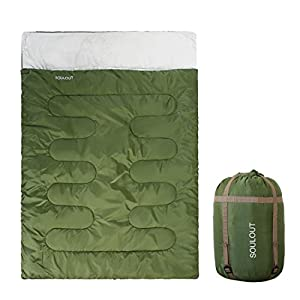Double Sleeping Bag Queen Size XL, 3-4 Season Warm Cold Weather, Waterproof Lightweight 2 Person Sleeping Bag for Adults,Teens Or Kids, Perfect for Backpacking, Camping, Hiking with a Compression Bag