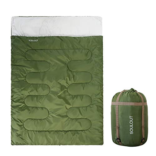 SOULOUT Sleeping Bag - 4 Seasons Warm Cold Weather Lightweight, Portable, Waterproof Sleeping Bag with Compression Sack for Adults & Kids - Indoor & Outdoor: Camping, Backpacking, Hiking