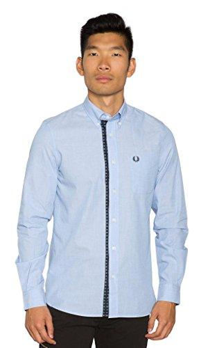 Fred Perry- Men's Drake's Floral Trim Shirt Large Light Blue