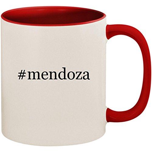 (#mendoza - 11oz Ceramic Colored Inside and Handle Coffee Mug Cup, Red)