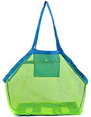 Molinte Beach Toys Bag Large Mesh Tote Bag Clothes Carry All Sand Away for Kids
