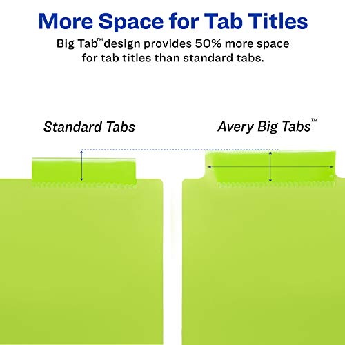 Avery 5-Tab Plastic Binder Dividers, Insertable Multicolor Big Tabs, 1 Set (11900) by Avery (Image #3)
