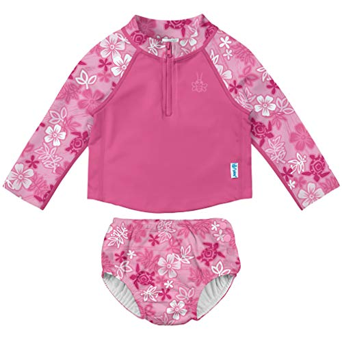 i play. Baby Girls Rashguard Set with Built-in Absorbent Swim Diaper, Pink Hawaiian Turtle, 18 Months