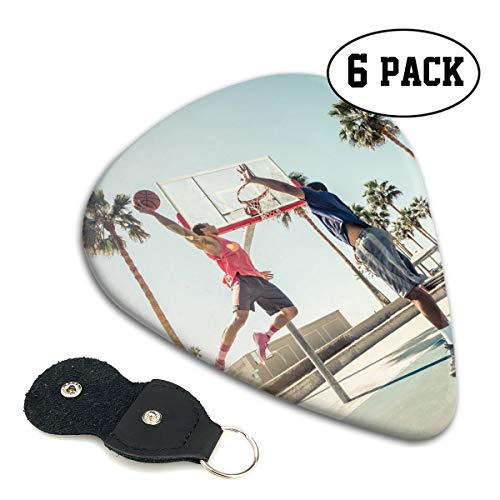 Basketball Dunk Rebound Guitar Picks 351-shaped .71mm 6pcs+A Storage Bag ABS Celluloid Plectrum Custom for Universal Electric Acoustic Guitars Bass Kids Adults Best Stockings