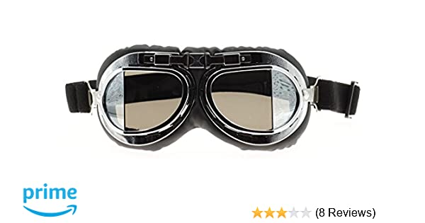 460557327ab1 Amazon.com: Hot Rides Classic Vintage Aviator Pilot Motorcycle Goggles  Protective Glasses (Silver Frame/Plating Lens): Automotive