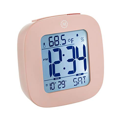 Marathon CL030058PI Small Compact Alarm Clock with Repeating Snooze, Light, Date and Temperature Travel Collection. Batteries Included. Color - Pink.