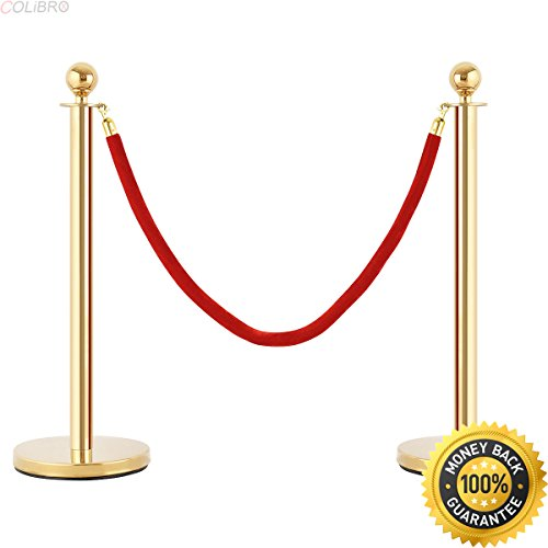 COLIBROX--2pcs Barrier Rope Crowd Control Stanchion Queue Velvet Rope Gold Polished Hooks. crowd control barriers retractable. best crowd control barriers for sale. retractable barrier fence.