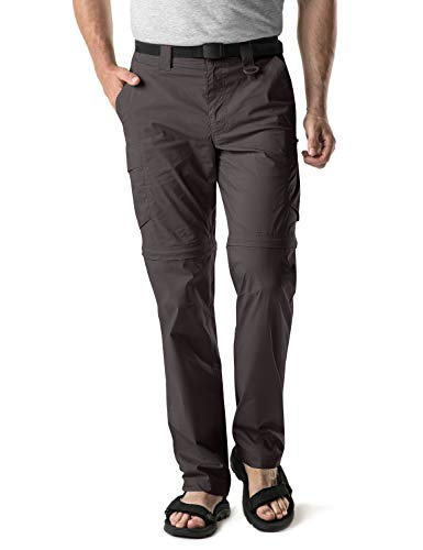 CQR Men's Convertible Pants Zipp Off Stretch Durable UPF 50+ Quick Dry Cargo Shorts Trousers, Convertible Cargo with Belt(txp403) - Brown, 32W/34L