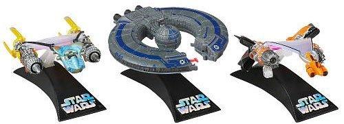 Anakin Skywalker Stand - Star Wars, Titanium Series, Exclusive Die-Cast Vehicles [Anakin Skywalker's Podracer, Sebulba's Podracer, and Trade Federation Battleship]