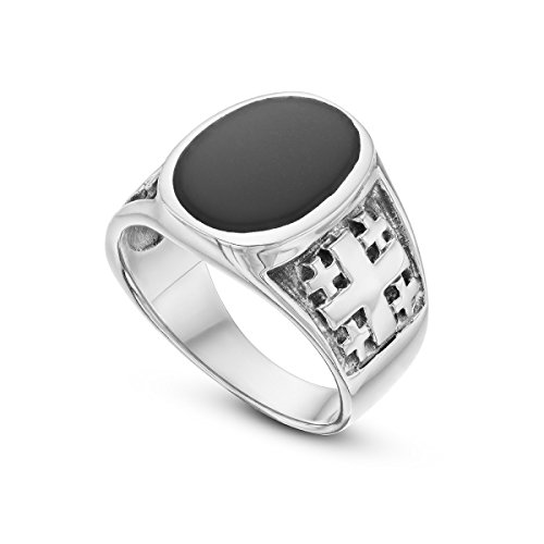 925 Sterling Silver Signet Ring Onyx Stone Greek Round Black Ring For Men 11
