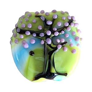 Sansukjai Tree in Blue Green Background Lampwork Murano Glass Beads Long 22mm Effetre Glass Italy