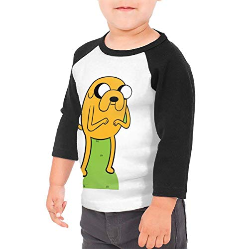 Kid's Adventure Time Jake Toddlers Jersey 3/4 Sleeve Rags Baseball T Shirt for 2-6T Boys and Girls Black