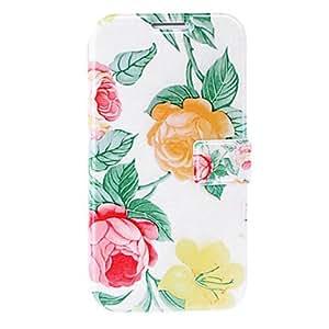 conseguir Flores pequeño estuche rojo / amarillo fresco de cuero con ranuras para tarjetas de crédito y soporte para Samsung i9500 galaxy s4