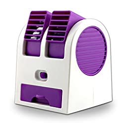 F.Dorla Mini Desktop Office Fan & Portable Dual Bladeless Small Air Conditioner Water Air Cooler Powered by USB & Battery ( Purple)