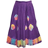 Mogul Interior Womens Bohemian Skirt Purple Tie- Dye Gypsy Playful Feeling Summer Midi Skirts XS