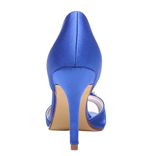 high quality for sale cheap explore M MULGARIA Women High Heel Peep Toe D'Orsay Pumps Rhinestones Satin Evening Prom Wedding Shoes Blue Qnm02rixkJ