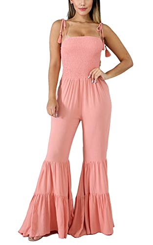 - Sexy Jumpsuit for Women Party Club Night - Off Shoulder Strappy Tiered Ruffle Shirred Bandeau Tassel Smocked Flared Palazzo Wide Leg Loose One Piece Jumpsuit Romper Pants Playsuit Pink, X-Large