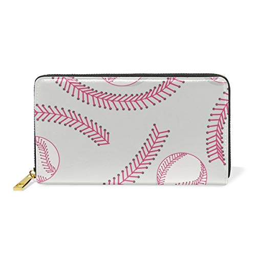 LALATOP Baseball Laces Pattern Genuine Leather Zipper Wallets Clutch Coin Phone for women