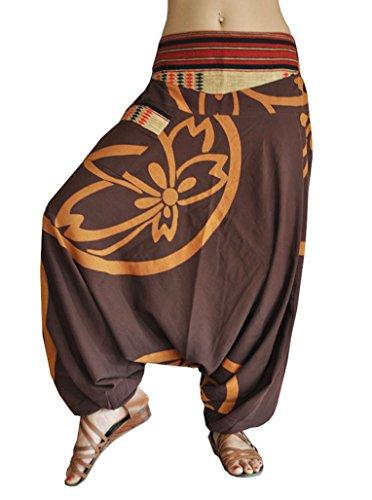 fantasia alla virblatt pantaloni con cavallo taglia e S pantaloni alla dalla stile tessitura turca L tradizionale in unica basso harem q05q4Ywrxd
