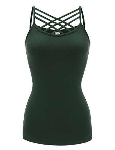 Regna X Activewear Loose Spaghetti Strap Yoga Tops Tank Tops for Women Green M