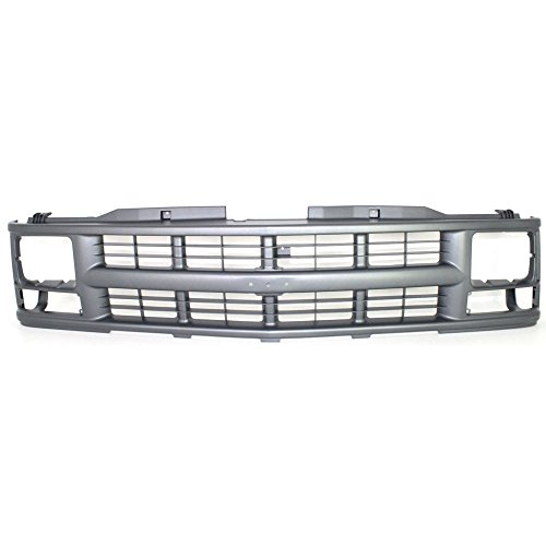 Single Sealed Beam - Grille compatible with Chevrolet C/K Full Size P/U 94-00/Suburban 94-99 Cross Bar Insert Painted-Silver Gray W/Single Sealed Beam Headlight