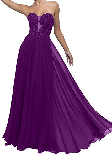 Ballkleider Festlichkleider mia La Abschlussballkleider A Partykleider Brau Abendkleider Violett Linie Herzausschnitt Spitze xH4pX6