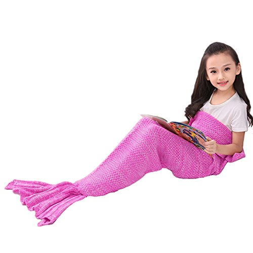 Mermaid Tail Blanket Girls Toys Handmade Knitted Living Room Sofa Throws Perfect Birthday gifts for any Girls 55.18 inch x 27.56 inch (B-Origin-kid-purple Pink, Kids)