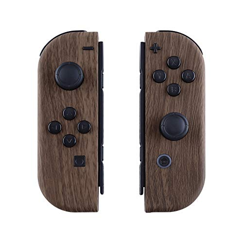 (eXtremeRate Soft Touch Grip Wood Grain Joycon Handheld Controller Housingwith Full Set Buttons, DIY Replacement Shell Case for Nintendo Switch Joy-Con - Console Shell NOT Included)