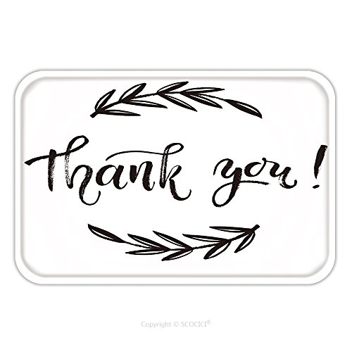 Cute Printable Halloween Cards (Flannel Microfiber Non-slip Rubber Backing Soft Absorbent Doormat Mat Rug Carpet Thank You Card Thanks Vector Isolated Hand Drawn Lettering Doodle Floral Wreath Printable 451316011 for Indoor/Outdoor/)