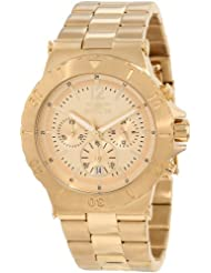 Invicta Mens 1266 Specialty Chronograph Gold Tone Dial 18k Gold Ion-Plated Watch