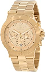 Invicta Men's 1266 Specialty Chronograph Gold Tone Dial 18k Gold Ion-Plated Watch