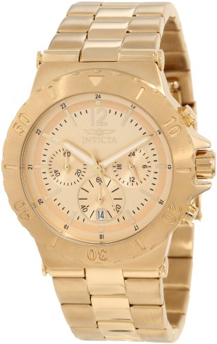 Invicta Men's 1266 Specialty Chronograph Gold Tone Dial 18k Gold Ion-Plated Watch ()