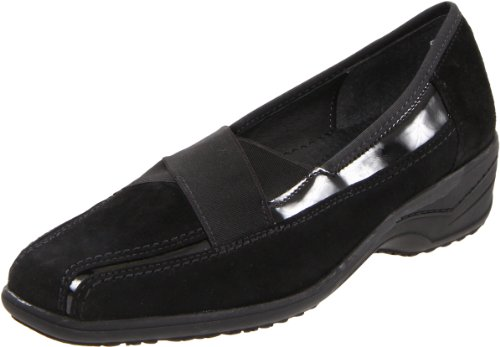 ara Women's Ramona Slip-On,Black Suede With Patent,5 M US (Suede Ara Loafers)
