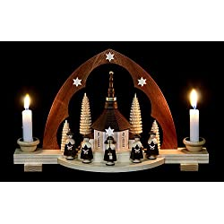 German candle arch Carolers, length 30 cm / 12 inch, natural, original Erzgebirge by Mueller Seiffen