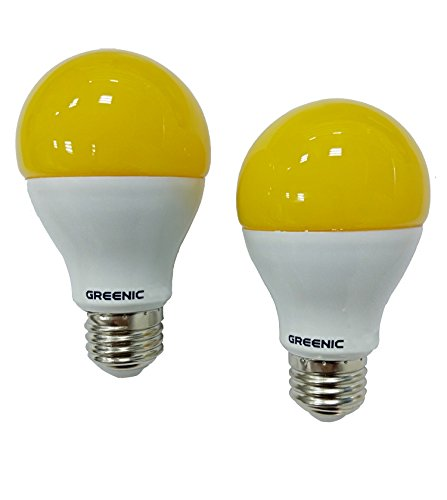 GREENIC 60Watt Yellow LED Bug Light Bulb 2-Pack No Blue Light Outdoor 800Lm 120V E26 Medium Base - Yellow Bug Light Bulb