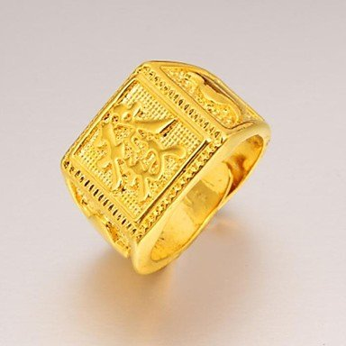 Chinese characters of fortune Mens Ring Gold 24 k Amazoncouk