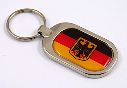 Chrome Key Ring Metal Keychain (Germany Flag Key Chain metal chrome plated keychain key fob keyfob german)