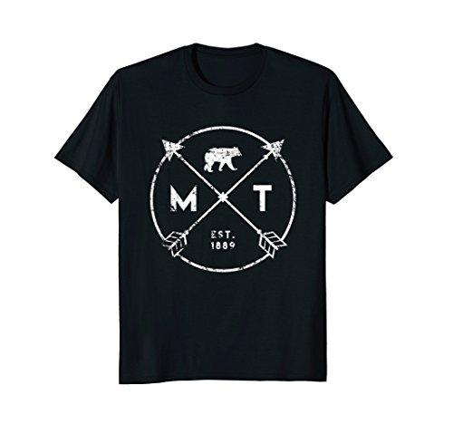Mens Montana Adventure T Shirt  Est 1889 Bear Arrows State Gift Medium Black
