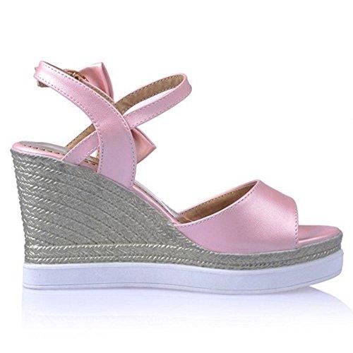 Coolcept Mujer Moda Al Tobillo Sandalias Punta Abierta Tacon de Cuna Zapatos (34 EU, Black)