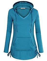 Messic Pullover Hoodie Women S Fashion Fitted Long Sleeve V Neck Pullover Sweatshirt With Kangaroo Pocket Xx Large Dark Cyan