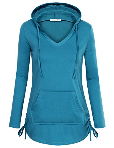 Kangaroo Tie - Messic Pullover Hoodie, Women's Fashion Fitted Long Sleeve V Neck Pullover Sweatshirt with Kangaroo Pocket (XX-Large, Dark Cyan)